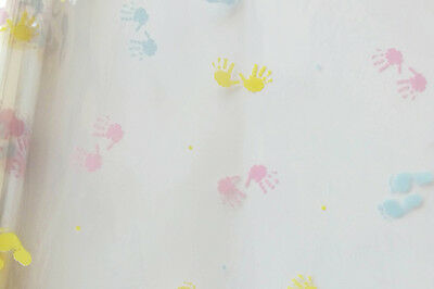 Baby Footprints Cellophane Clear Wrap for Gift Hamper Baskets & Packaging - 20m