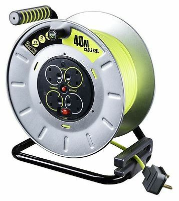 Masterplug Pro XT 40m 4 Gang 13A Open Metal Cable Reel with Thermal Cut Out