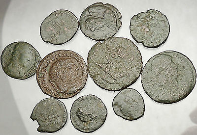 250-450AD Group Lot of 10 Authentic Ancient ROMAN Coins Collection KIT i51243