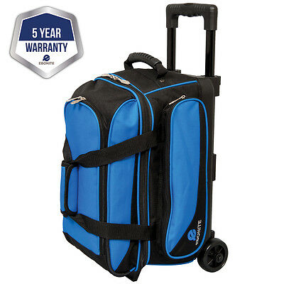 Ebonite Transport II Black/Blue 2 Ball Roller Bowling Bag