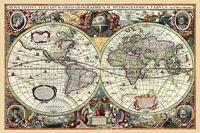 1630 Historic Old World Illlustrated Vintage Map - 17x24