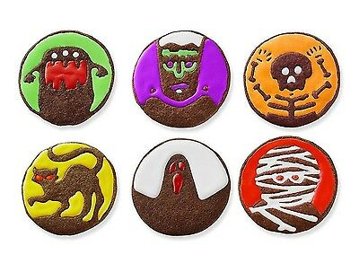 Tovolo Halloween Cookie Cutter & 6 Design Stamps Set Round Spooky Monster Ghost