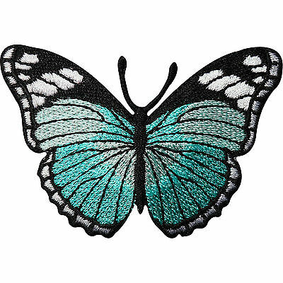Turquoise Green Butterfly Embroidered Iron / Sew On Patch Dress Skirt Bag Badge
