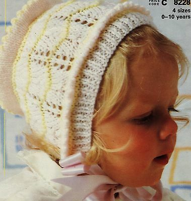 Knitting Pattern  BABY & CHILDREN GIRLS BONNETS 0 - 10 Years Double Knit VINTAGE
