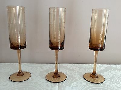 3 X 175ml Long Stemmed Cylindrical Etched Caramel Art Glass Champagne Flutes