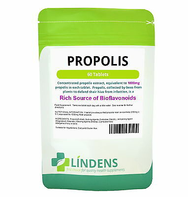 Bee Propolis 1000mg 60 Tablets Bees Natural Rich Source Bioflavonoids