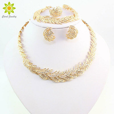 New Fashion 18K Gold Plated African Wedding Clear Crystal Necklace Jewelry Sets
