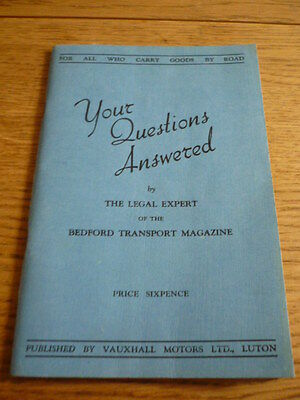BEDFORD COMMERCIALS - YOUR QUESTIOIN ANSWERED 1937 BOOKLET BOOK  jm