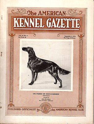 Vintage American Kennel Gazette September 1930 Irish Setter Cover
