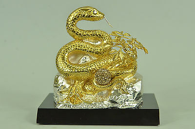 Bronze Sculpture Collectible Handcrafted Zodiac Sign Snake Figurine Figure Sale