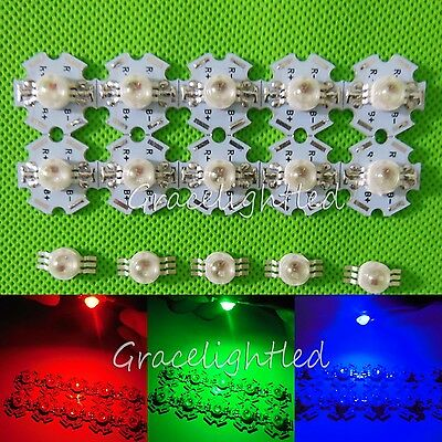 1 10 100pcs 3W RGB Full Color High Power LED Chip Light with star base /no base