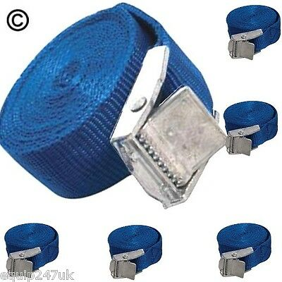 6 Blue Cargo Lash Straps Cam Buckle Tie Down Luggage Quick Release 25mm x 2.5m