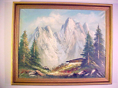 Wonderful Vintage Oil Painting Cabin In The Rockey Mountains By Ben Ger Berger ?