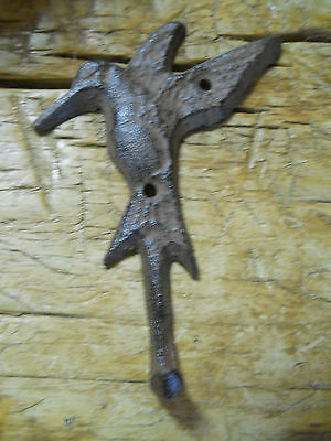 12 Cast Iron HUMMINGBIRD Towel Hanger Coat  Hat Hooks, Key Rack GARDEN Hook BIRD