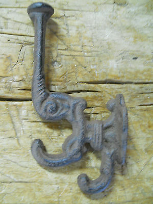 6 Cast Iron BROWN Victorian Style Coat Hooks Hat Hook Rack Hall Tree Restoration