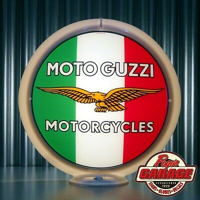 "Moto Guzzi Motorcycles - 13.5"" Glass Advertising Globe -  Made by Pogo's Garage"