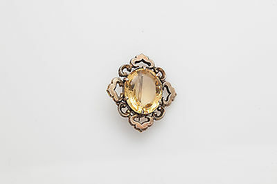 Antique Victorian 1870s 10ct Natural Citrine 14k Yellow Gold BROOCH Pin