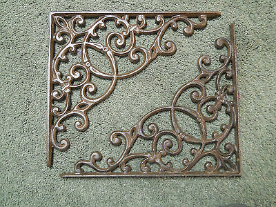 2 Cast Iron Antique Style HUGE Brackets Garden Braces RUSTIC Shelf Bracket Brace