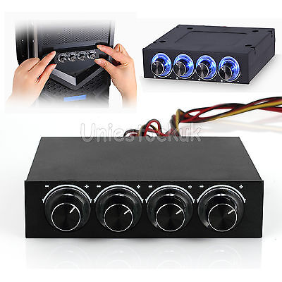 """3.5"""" Bay Panel 4 x PC Computer LED Cooling Fan Speed Temperature Controller UK"""