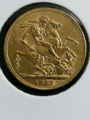 1917 'C' Full Sovereign St George Reverse King George V Gold coin Canada Ottawa