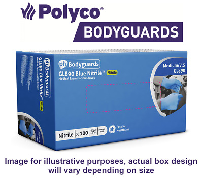 Bodyguards Nitrile Disposable Powder Free Gloves GL890 Box of 100 S, M, L, XL