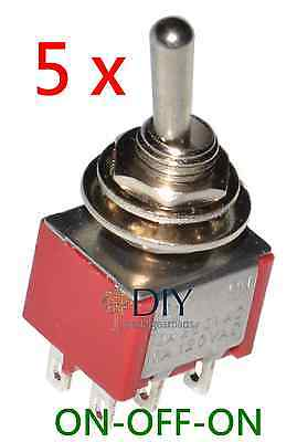 5 x DPDT ON-OFF-ON toggle switch - switch a levetta pedal clone DIY