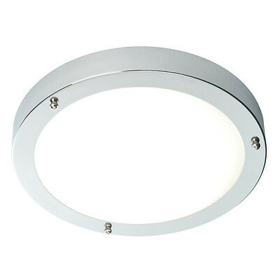 Saxby Modern Chrome 60W Double Insulated Bathroom Flush Ceiling Light Zone 1 2 3