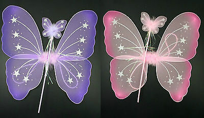 Butterfly Fairy Wings and Wand Set Girls Fancy Dress Dressing Up Ladies Party