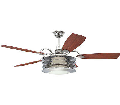 """Chrome 54"""" Ceiling Fan With Teak/Walnut Blades Light Kit And Remote"""