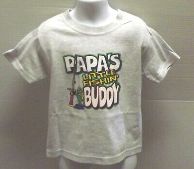 Papa's Little Fishing Buddy  New Without Tags Gray  Tee Shirt SIZE 24 months