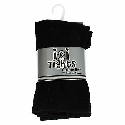 3 x Pairs Children's Black School Tights Age 3 - 12 Years