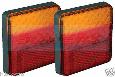 2x LED AUTOLAMPS 100BARE SQUARE 12V REAR COMBINATION TRAILER TAIL LAMPS LIGHTS