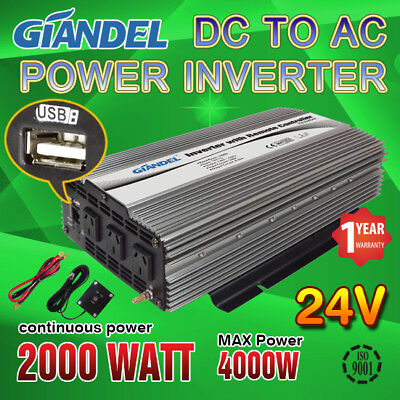 Power Inverter M Sine Wave 2000W/4000W Max 24V-240VAC+Remote Control 4.5 M Cable