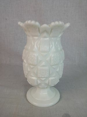 """Westmoreland Milk Glass Old Quilt 7 """"tall Footed Celery Vase"""