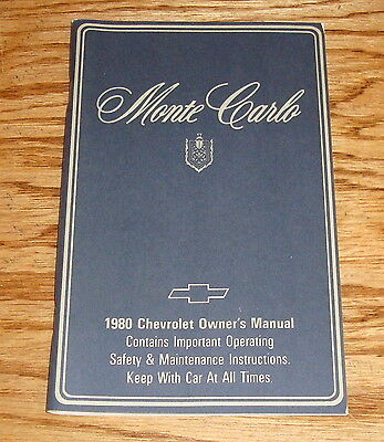 1980 Chevrolet Monte Carlo Owners Operators Manual 80 Chevy