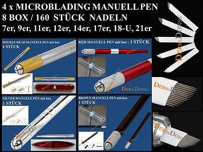 160 x Microblading Blade + 4 x Manuell Pen Permanent Make up Handmethode Tattoo