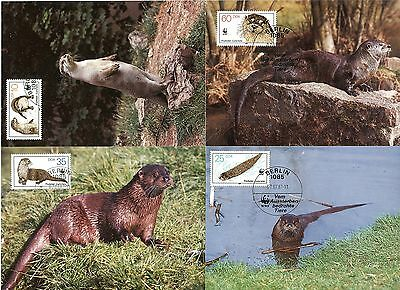 East Germany 1987 WWF Otters Set of 4 Maxicards FDC