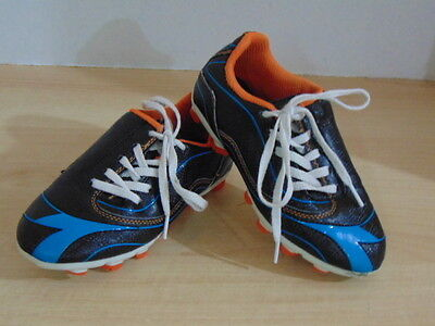 Soccer Shoes Cleats Childrens Size 12 USA Diadora Blue Black Orange Minor Wear