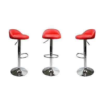 Set Of 2 Red Leather Bar Stools Swivel Dinning Counter Adjule