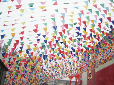 10m Party Rainbow Bunting Large Birthday Xmas Outdoor Flags Banner Multi Colored