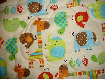 NEW Handmade Crib/Baby Quilt-  All-Over Giraffe Elephant Turtle Birds- Cotton