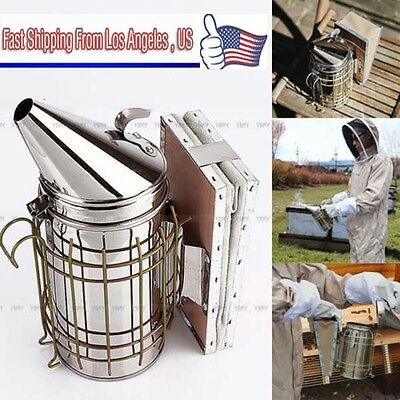 Hot Bee Hive Smoker Stainless Steel Beekeeping Equipment Tool w/ Heat Shield