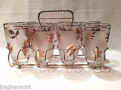 Vintage Libbey Frosted Gold Leaf 12oz Glasses with Wrap- Handle Gold Tone Caddy