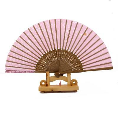 Pink Folding Japanese Silk Bamboo Cherry Blossom Hand Fan Wedding Party Gift