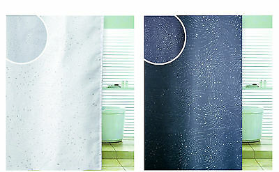 Spiral Diamante Look Glitter Bathroom Shower Curtain With Hooks & Extra Lenth