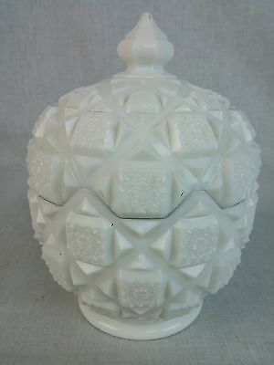 "Westmoreland Old Quilt Milk Glass footed coverd dish 6 1/2"" tall 4 3/4"" diameter"