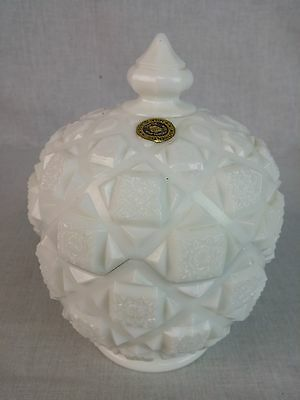 "Westmoreland Old Quilt Milk Glass footed covered dish 6 1/2""tall 4 3/4"" d w/ tag"