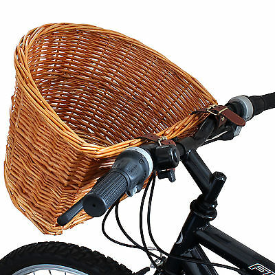 Vintage Wicker Bicycle Basket Tan Leather Adjustable Straps Bike/cycle Shopping