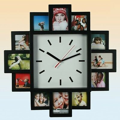 Black Plastic Wall Clock With 12 Family Photo Frame Xmas Gift New