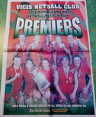 Mount Gambier Netball Association 2014 Mgna A Grade Grand Final Liftout Poster